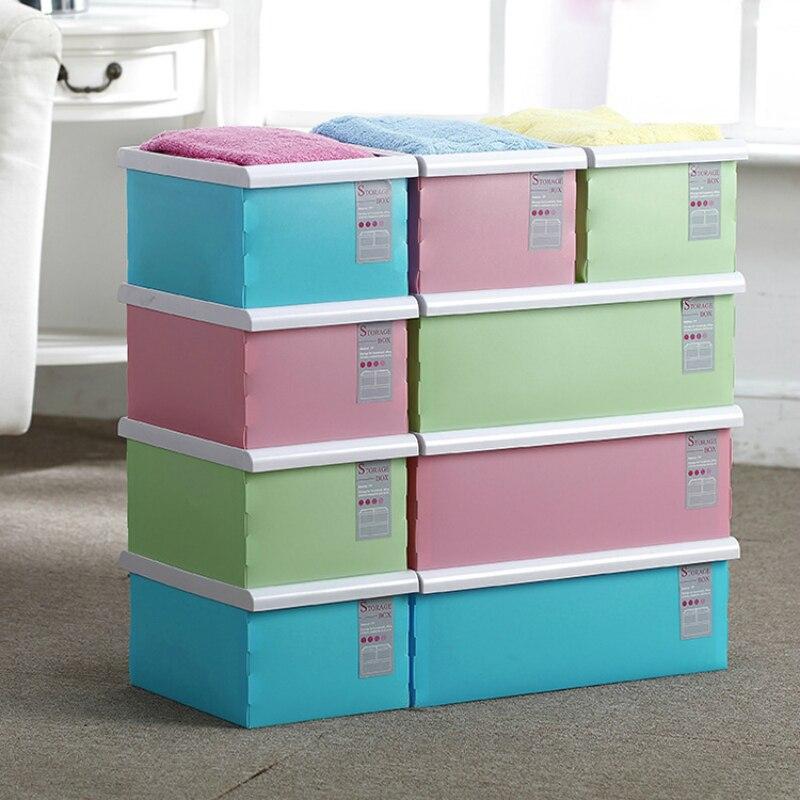 Candy Color Folding Storage Box Clothes Sundries Toys Finishing Box Assemble Desktop Storage Box Cosmetic Makeup Organizer 1PC