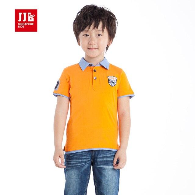 Мальчик рубашки поло с коротким рукавом дети футболки письмо вышивка рукав марка футболка с коротким рукавом