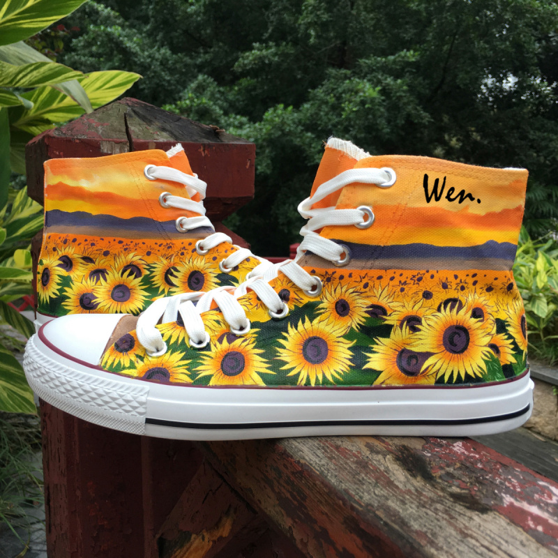Wen Custom Original Design Blossomed Sunflowers Floral Hand Painted Athletic Shoes Unisex High Top Canvas Type Outdoors Sneakers wen original high top sneakers steam punk hand painted unisex canvas shoes design custom boys girls athletic shoes gifts