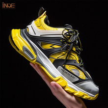 INOE 2019 Fashion Men Casual Sneakers Spring Leisure Shoes for Man Hit Colors Breathable Mesh Light Shoes for Walking
