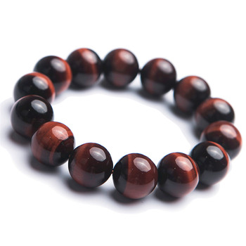 16mm Genuine Natural Red Tiger's Eye Gemstone Bracelets Women Men Big Round Bead Crystal Bracelets Free Shipping
