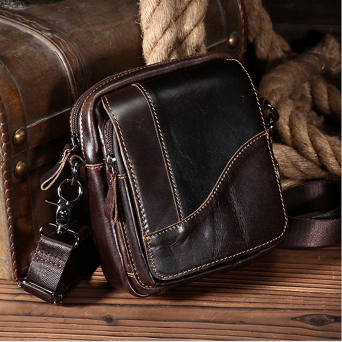 ARESLAND Genuine Leather Men Shoulder Bags Business Messenger Male Single Shoulder Bag Vintage Small MenS Bag Zipper Crossbody