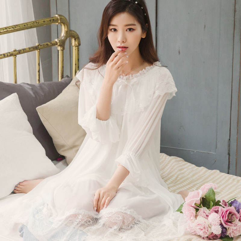 2018 summer vintage nightgowns v neck ladies dresses princess white sexy sleepwear solid lace home dress comfortable nightdress