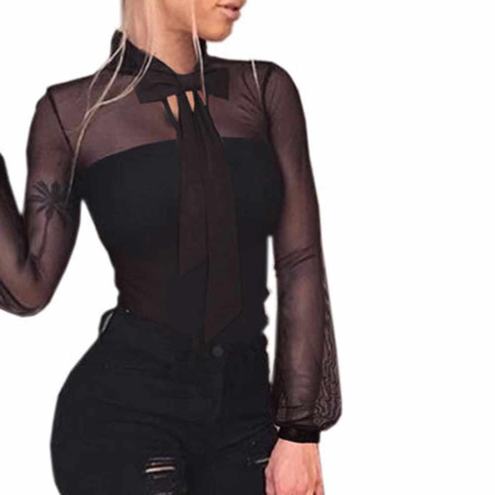 Feitong Vrouwen Transparante Bodysuit Tops Herfst Sexy See Through Mesh Tie Bodycon Lange Mouwen Tops Jumpsuit Bodysuit Vrouwelijke 2019
