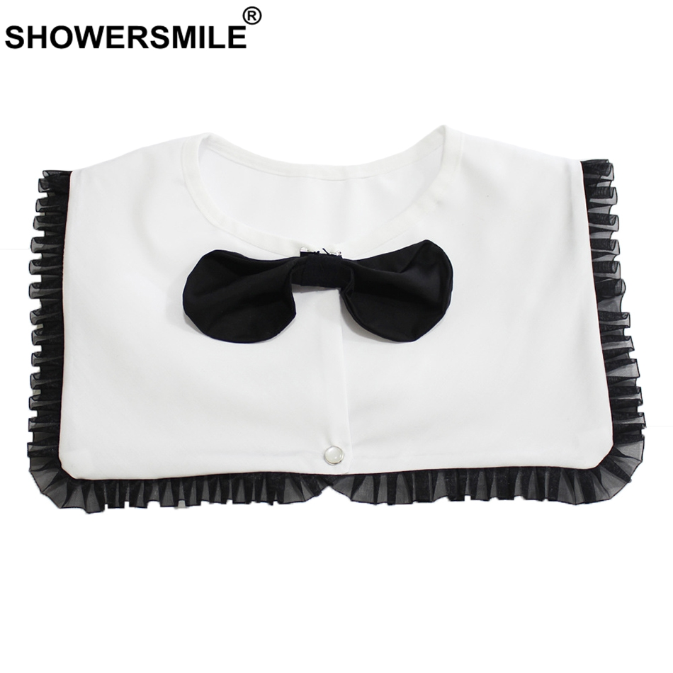 SHOWERSMILE White Detachable Collars For Women Pleated Patchwork Fake False Collar Female Elegant Bow Removable Sailor Collar