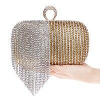 2018 New Women Evening Bags Finger Ring Diamonds Evening Bag Day Clutches Chain Shoulder Purse Handbags Tassel Lady Messenger