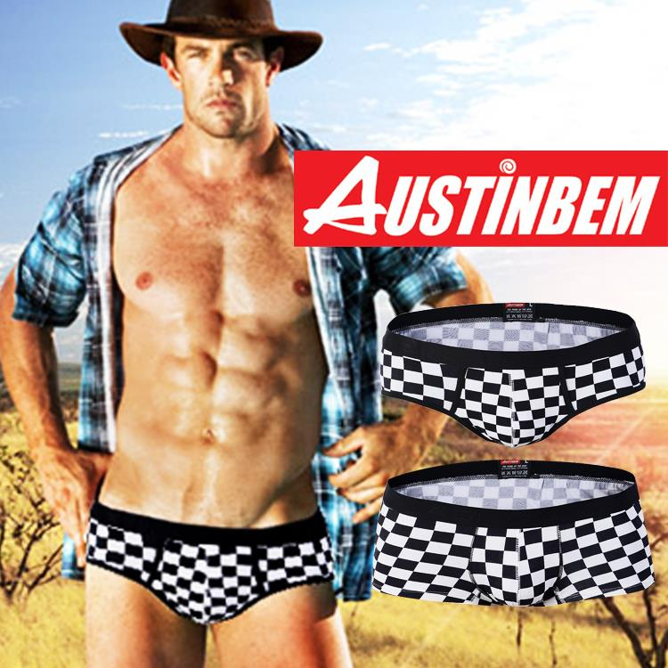 High quality brand AUSTINBEM grid boxers men