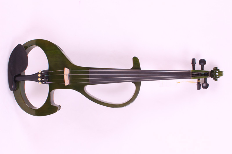 4/4 New 4 string Electric Acoustic Violin Solid Wood Nice Sound  green color new 4 string 4 4 electric acoustic violin patent silent fine sound 1
