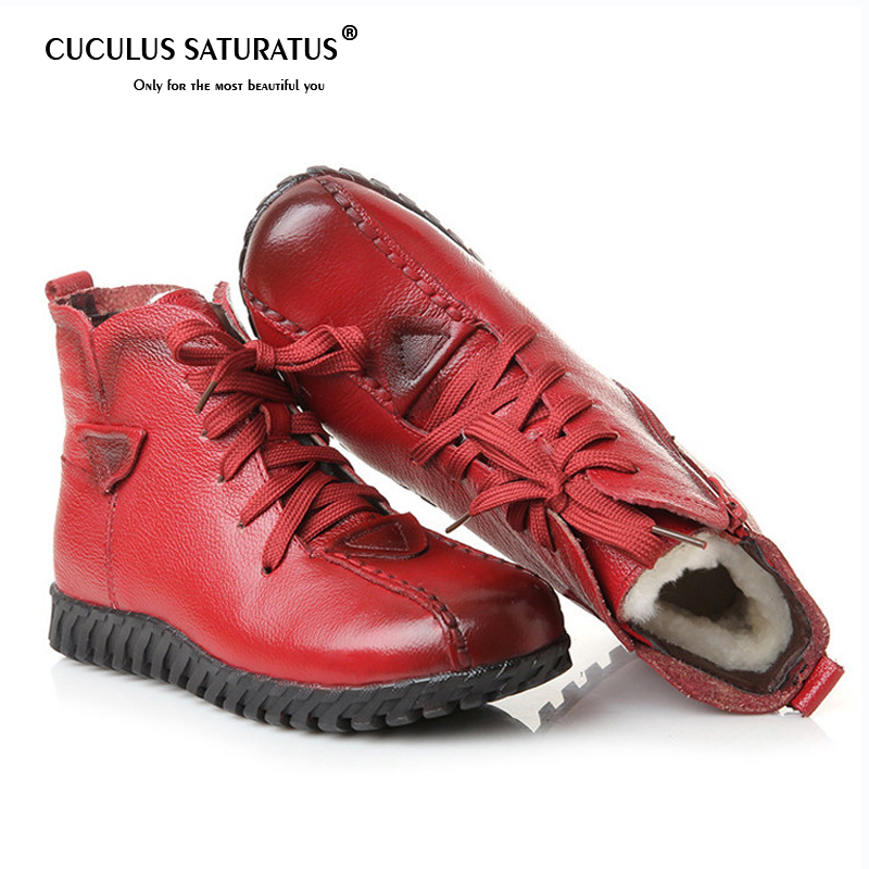 Cuculus 2019 New Cotton padded Flat Bottom Increase Soft Sole Shoes Woman Winter Warm Boots Women Boots 1869
