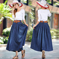 2017 Mujeres Del Verano de Mezclilla Femenina falda Larga Maxi faldas de Jean Jupe Longue Femme Retro Faldas Saia falda Plisada Pecho Con cinturón