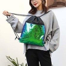 Unisex Beach Bag Outdoor Fitness Bag Sequins Bunch Pocket Female Drawstring Backpack Mochilas De Lantejoulas Sequin Backpacks#