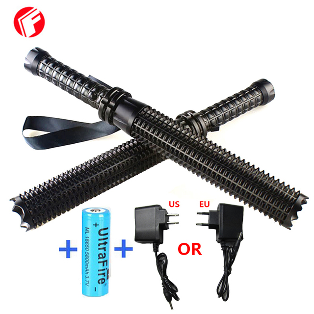 Led flashlight 2000 lumens CREE Q5 Self defense Tactical light Police flashlights Give 18650 battery Home Car-charger