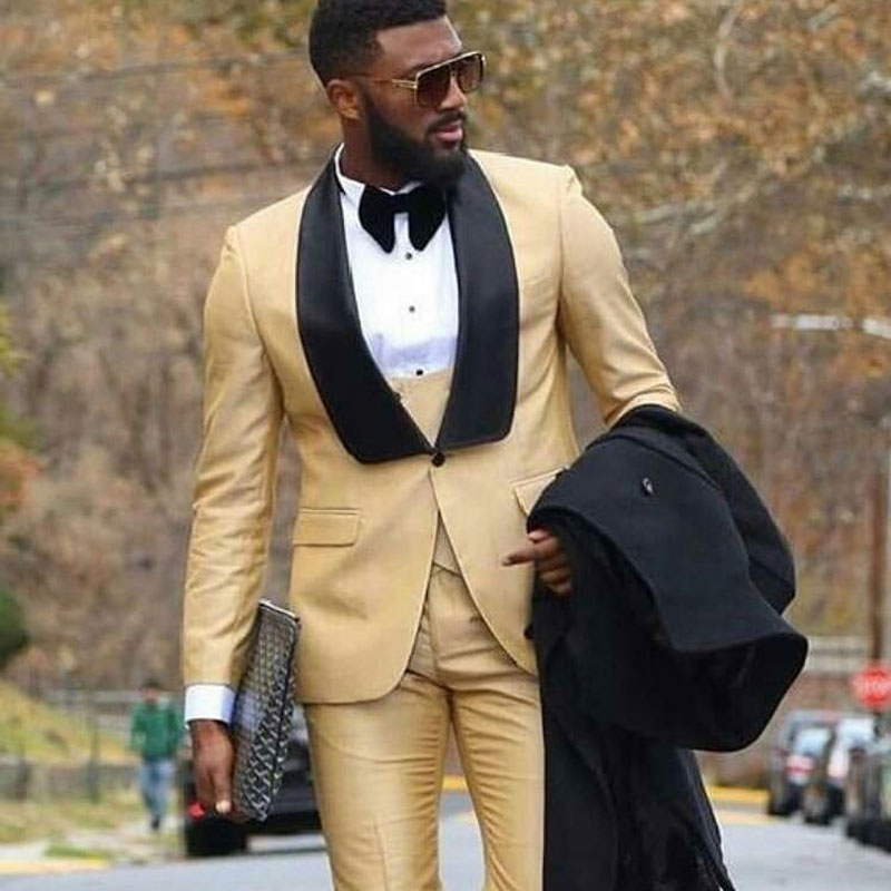 Champagne Men Wedding Suits Black Shawl Lapel Man Blazer Slim Fit Terno Masculino Costume Homme Groom Tuxedos 3Piece Coat Pants