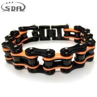Hot Sale SDA Orange Black Motorcycle Chain Bracelets Top Quality 316L Stainless Steel Mens Bracelets Best