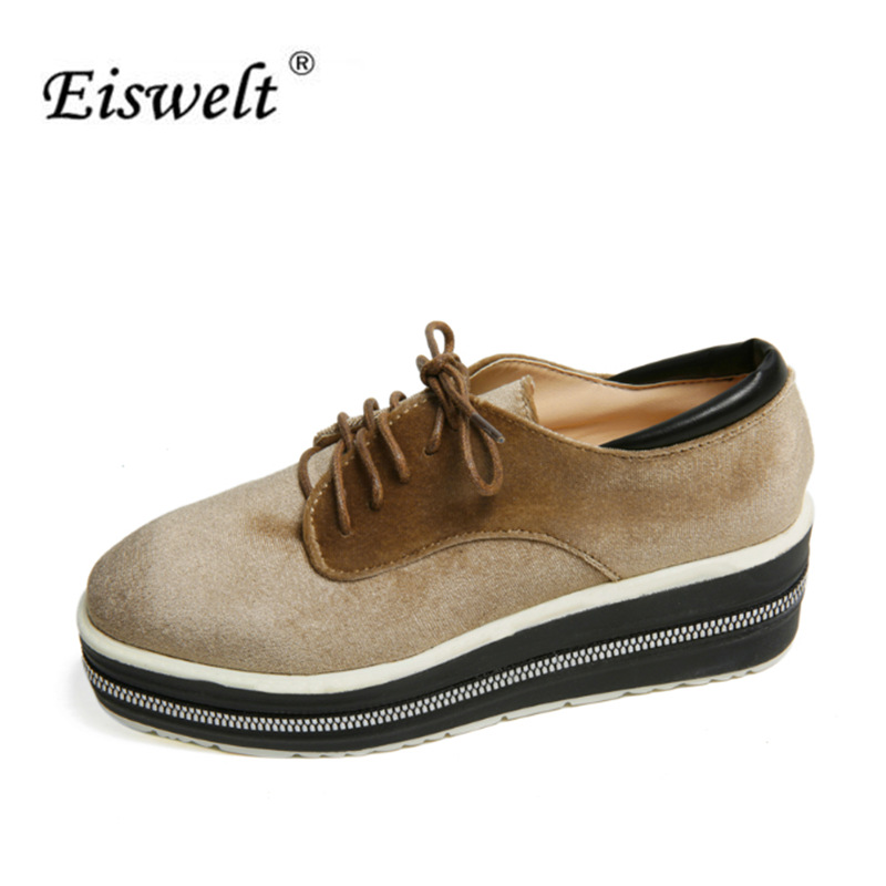 EISWELT New 2017 Women Pumps Women Shoes Low Heel Flock Square Head Lace Platform Heels Buckle Casual Oxford Shoes Women#ELQ107 xiaying smile summer new woman sandals platform women pumps buckle strap high square heel fashion casual flock lady women shoes