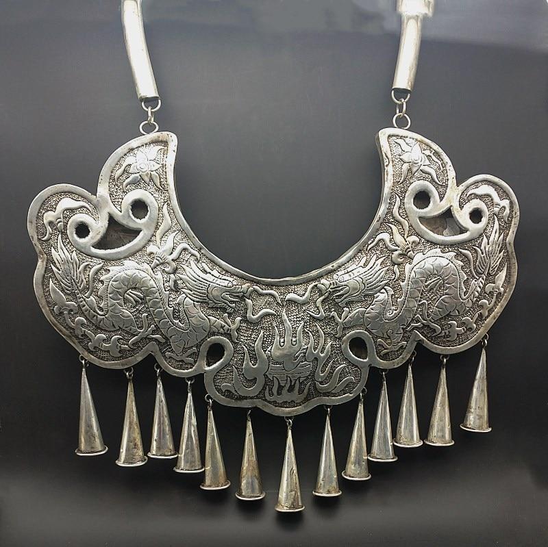 Vente chaude nouveau livraison gratuite à la main Miao argent ornement gravure dragon Phoenix tauromachie culture grand collier - 6