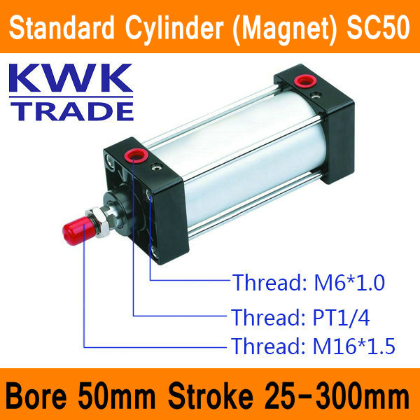 SC50 Standard Air Cylinder Valve Magnet Bore 50mm Strock 25mm to 300mm Stroke Single Rod Double