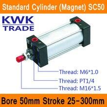 SC50 Стандартный Воздушный Цилиндр Клапан Магнит Диаметр 50 мм Строк 25 мм до 300 мм Ход Одноместный Род Двойного Действия пневматический Цилиндр