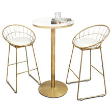 Nordic Creative Bar Chair Table Simple Iron Art Multi-function Household High Stool with Cushion Coffee Shop Bar Stool and Table(China)
