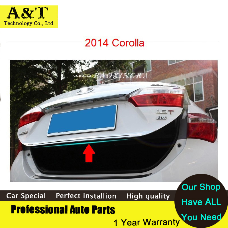 ABS Rear Trunk Lid Cover trim For 2014 2015 Toyota Corolla high quality chrome stickers trim car styling Car Accessories car rear trunk security shield cargo cover for ford ecosport 2013 2014 2015 2016 2017 high qualit black beige auto accessories