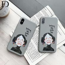 FD Cute Cartoon Funny Girl Soft TPU Phone Case X XS Max XR Cover 7 8 6 6s Plus Fashion