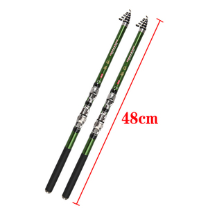 Image 2 - 2019 series 1.8 3m green carbon fiber spinning rock fishing rod closed 46cm short hard travel stick telescopic pole