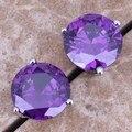 Замечательный Фиолетовый Аметист Стерлингового Серебра 925 Серьги Стержня Для Женщин S0214