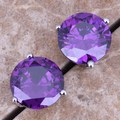 Wonderful Purple Amethyst 925 Sterling Silver Stud Earrings For Women  S0214
