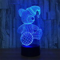 Christmas Bear 7 Color Change 3d Visual Led Night Lights Touch Usb Table Lampara Lampe Baby