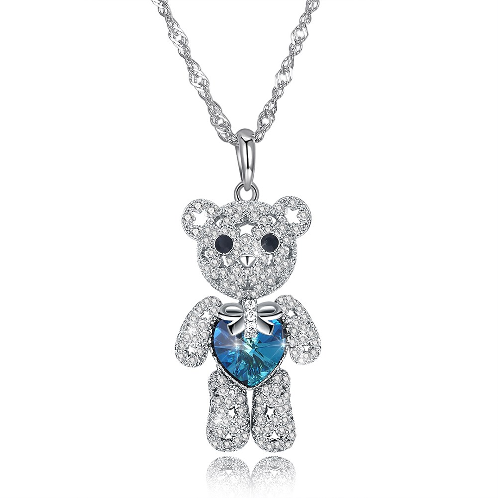 INALIS Lucky Bear Sterling Silver Necklace Crystals from Swarovski Necklaces Animal Pendant for Women Jewelry luxurious Gift New