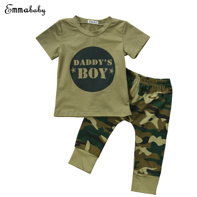 d45d371b76479 Camo Clothing 2018 Newborn Baby Boy Clothes Girls Set Camouflage Pants Army  Green T-shirt Tops Pants Outfits Set Clothes 0-24M