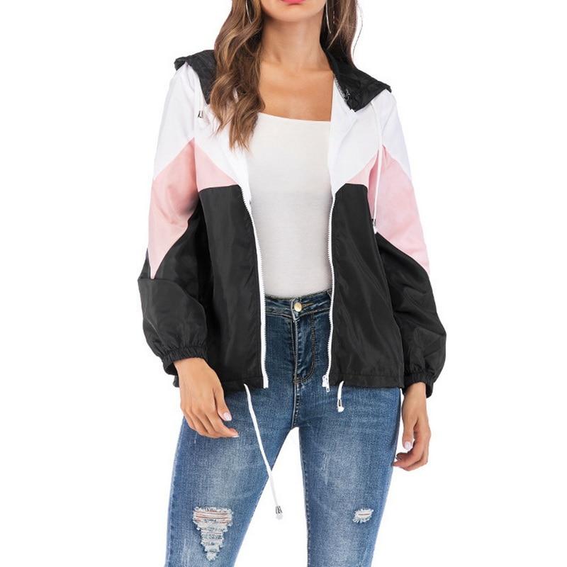 CALOFE Women   Basic     Jackets   Female Zipper Pockets Casual Long Sleeves Coats Autumn Hooded   Jacket   Two Tone Windbreaker   Jacket