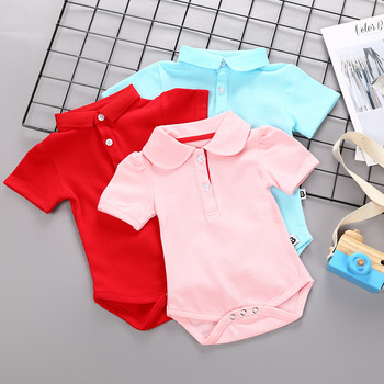 2018 Newborn Baby Summer Short Sleeve Rompers Babies custume Polo Turn Down Collar baby boy Girls Solid color jumpsuits Overalls