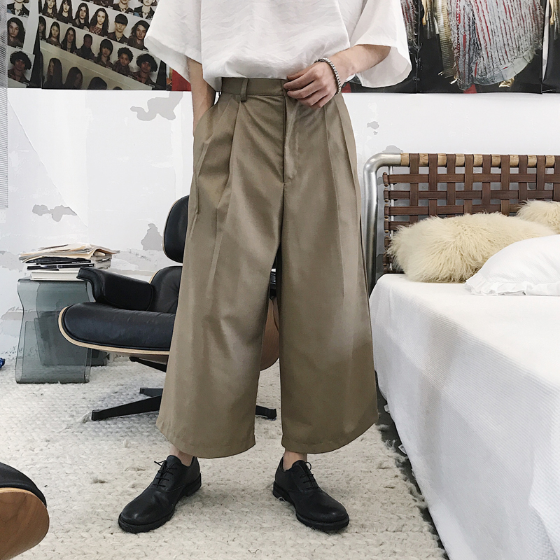 2018 Summer Mens Korean Style Fashion High Street Style Wide Leg Haren Casual Pants Loose Black/Brown Color Trousers M-2XL