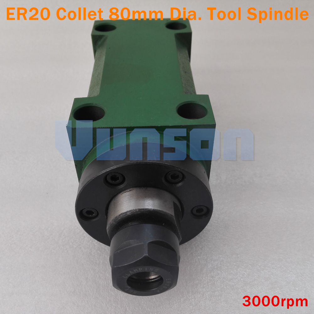 ER20 Collet Chuck 80mm Diameter Power Head Cutting Boring Milling machine Tool Spindle Max 3000rpm Max
