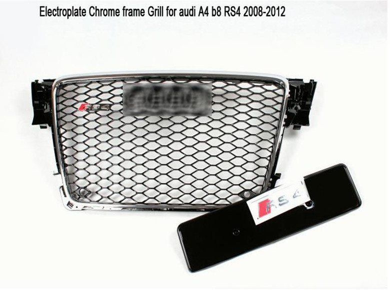 Electroplated Chrome Frame Car Mesh Grills Front Bumper Grill With Parking Radar Sensor Hole For Audi