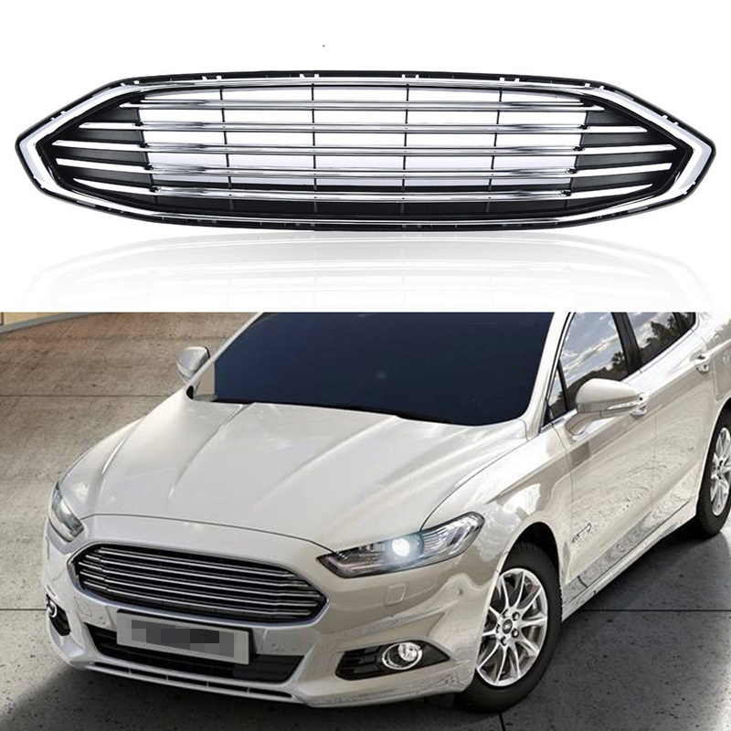1Pcs Car Racing Grill For Ford Fusion 2016-2017 Grille ABS Black Chrome Radiator Trim Front Bumper Lower Modify Hood Mesh Covers for 2004 2005 ford ranger vertical hood grill grille brand new chrome usa domestic free shipping hot selling