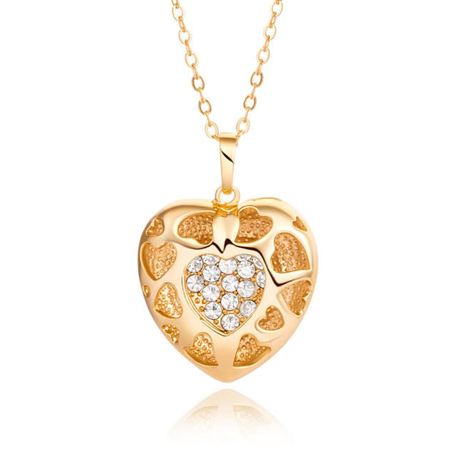 Online shop new fashion party costume jewelry yellow gold color new fashion party costume jewelry yellow gold color hollow heart clear crystal cluster pendant necklace for women best gift aloadofball Images