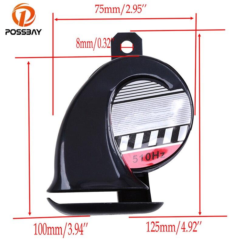 POSSBAY 12V For Harley Honda Suzuki Yamaha Kawasaki Powerful Motocross Bike Air Snail Horn Tone Mini Loud Voice Speaker 510Hz