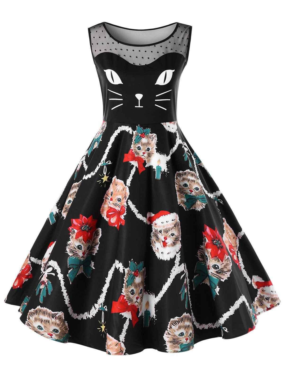 2018 Лето Плюс Размер Рождественский котенок качели платье милый кот принт  женское вечернее платье Винтаж Ретро fb7bd12f6d7b8