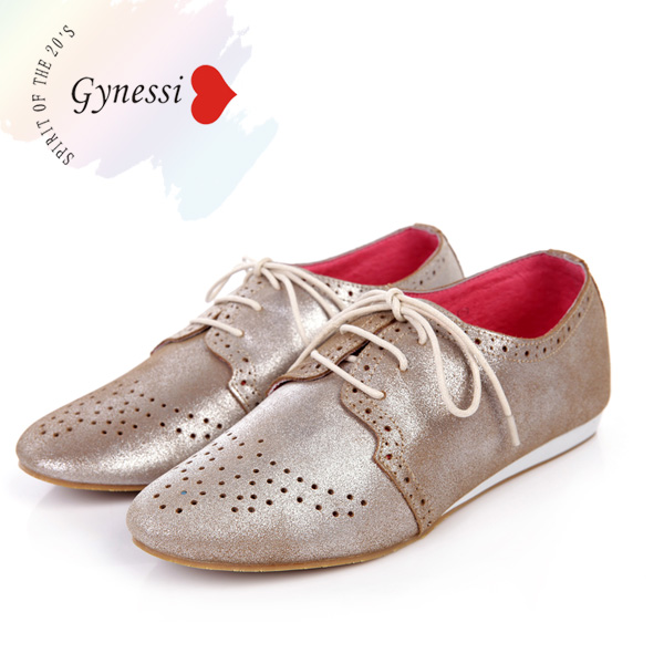 2016 Spring New Genuine leather Bright gold casual women shoes rihanna loafers flat woman isabel pointed toe - 8store store