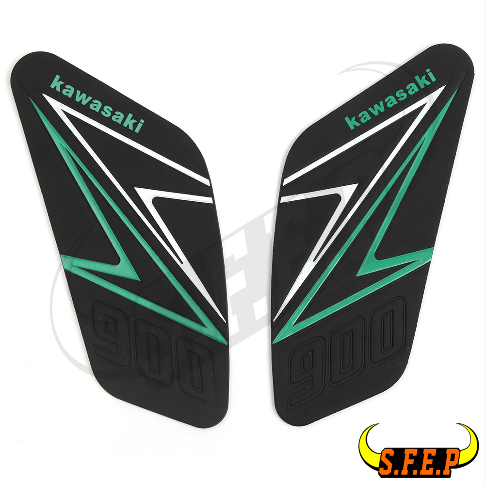 Green Motorcycle Tank Traction Side Pad Gas Fuel Knee Grip Decal For Kawasaki Z900 2017-2018