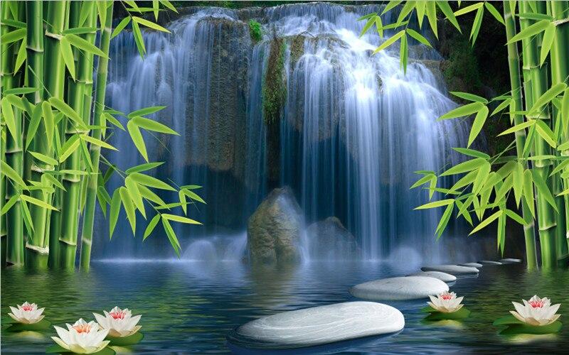 Custom 3D murals,Chinese landscape painting, lotus waterfall bamboo papel de parede,living room sofa TV wall bedroom wallpaper