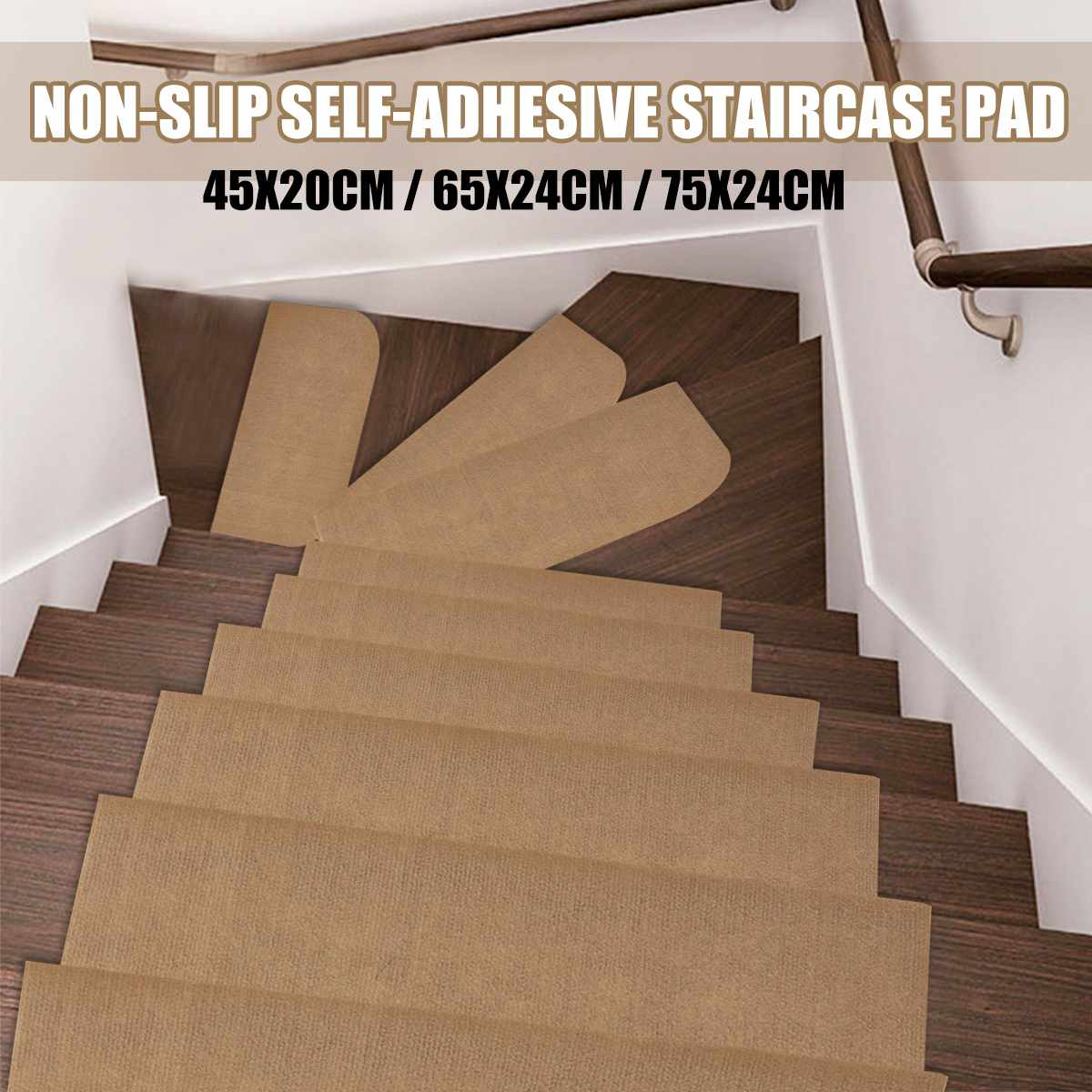 KiWarm 1Pcs Morden Stair Mat Brown Household Carpet Stair Pad Tread Non-Slip Step Rug 45x20cm/65x24cm/75x24cm Home Decoration