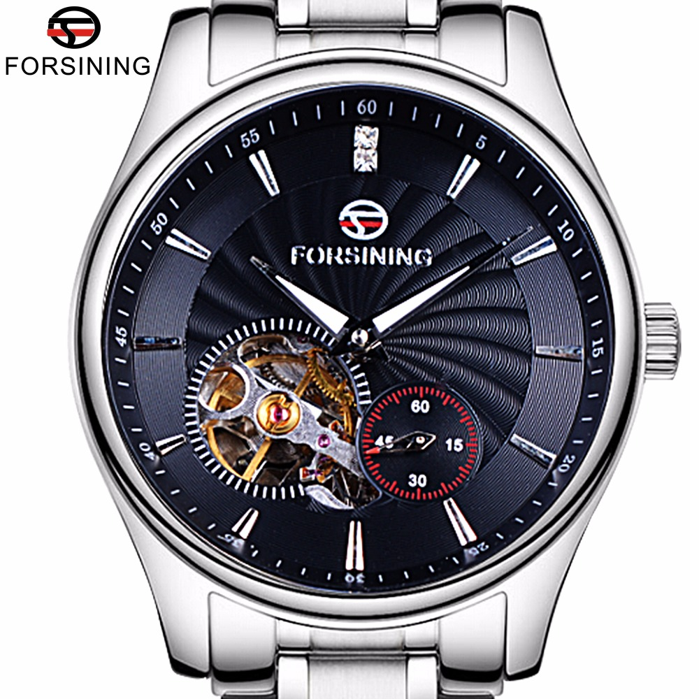 ФОТО Forsining Classic Series Sapphire Crystal Tourbillion Designer 316L Steel Mens Male Wrist Watch Top Brand Luxury Automatic Watch