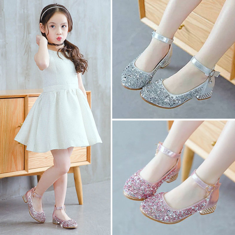 2019 Childrens Shoes Kids High Heeled Leather Shoes Baby Girls Shoes Rhinestone Princess Shoes For Dance Wedding Party Shoes