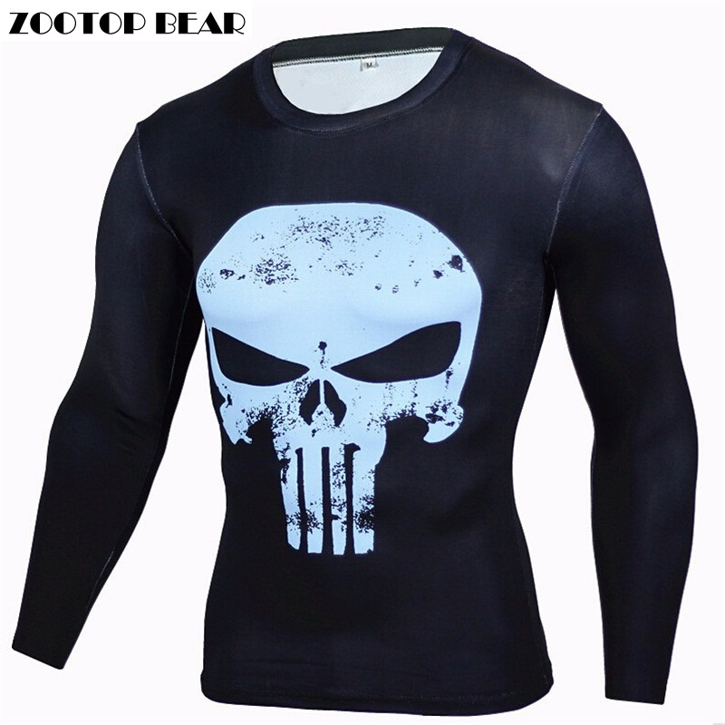 Punisher 3D T shirts Men T-shirts Superhero Tops Fitness Quality Compression Camisetas Crossfit Long Sleeve Top 2017 ZOOTOP BEAR