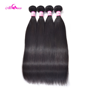 Image 2 - Ali Coco Brazilian Straight Hair With Closure 5x5 Lace Closure With 3 Bundles Weave Non Remy Human Hair Bundles With Closure