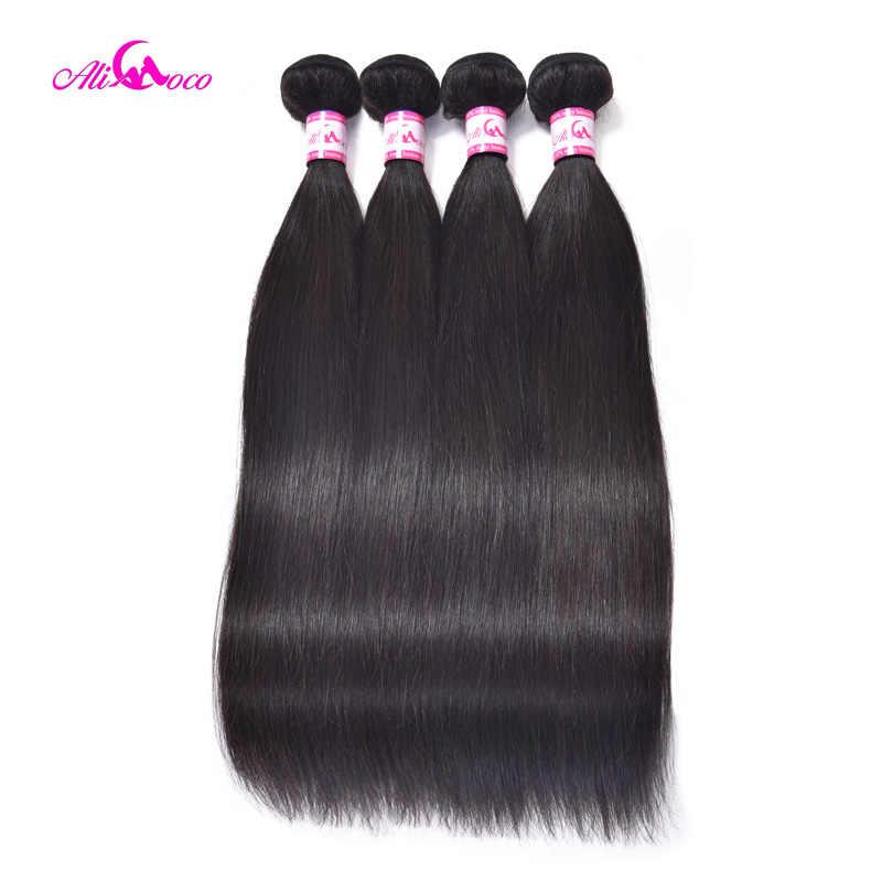 Ali Coco brazylijski proste włosy z zamknięciem 5x5 zamknięcie koronki z 3 wiązkami splot nie Remy wiązki ludzkich włosów z zamknięciem