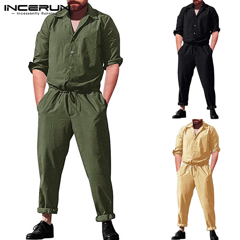 INCERUN Fashion Men <font><b>Jumpsuit</b></font> Overalls Long Sleeve Pockets Loose Button Up Casual Pants Men Streetwear Rompers <font><b>Hombre</b></font> 2019 S-5XL image